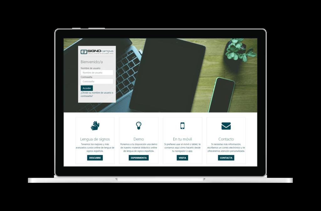 Página web de acceso a Signocampus con campos de nombre de usuario y contraseña para acceso, enlaces a lengua de signos, demo, plataforma en el móvil y contacto
