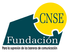 Logo con una base de color verde que pone Fundación y encima un círculo amarillo con el texto CNSE